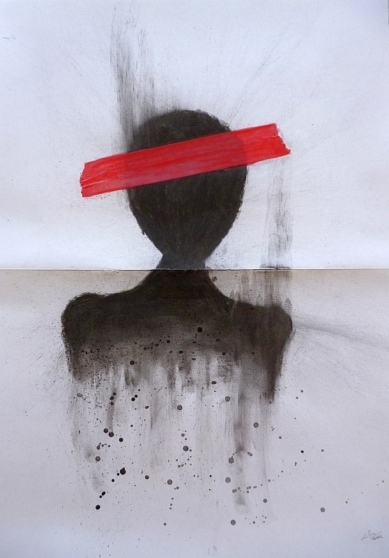 Charcoal, watercolour pencil, paper tape on paper, 2012. © Kyriakos Papageorgiou